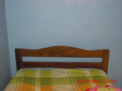 Dormitorio cuarto individual cama madera saman con colchon