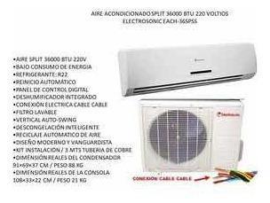 Aire acondicionado split electrosonic 36.000 btu pared