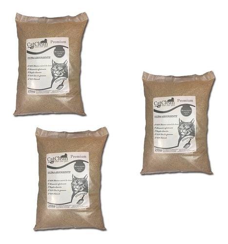 Pack de 3 unidades arena para gatos catclean premium de 25kg