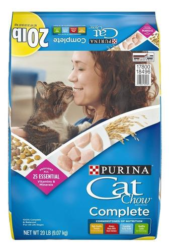 Purina cat chow 20 lbs (9.07 kgs) alimento completo 45 manz.