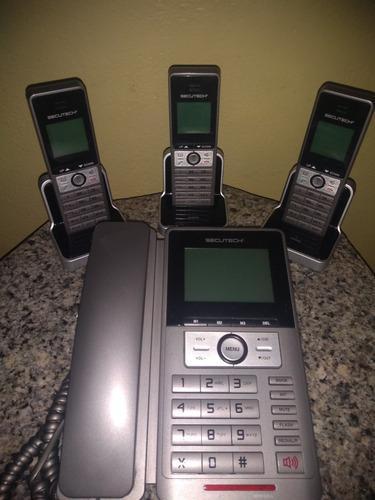 Teléfono secutech fijo + 3 auxiliares inalambricos