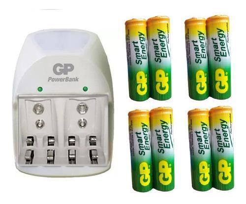 Cargador + 8 baterías aa 1000 mah recargables marca gp