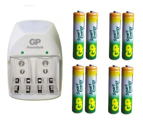 Cargador + 8 baterías aaa 400 mah recargables marca gp