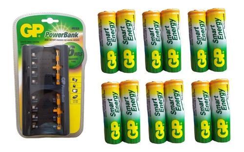 Cargador gp + 12 baterias aa 1000 mah recargables gp