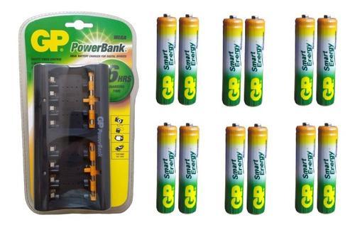 Cargador gp + 12 baterias aaa 400 mah recargables gp