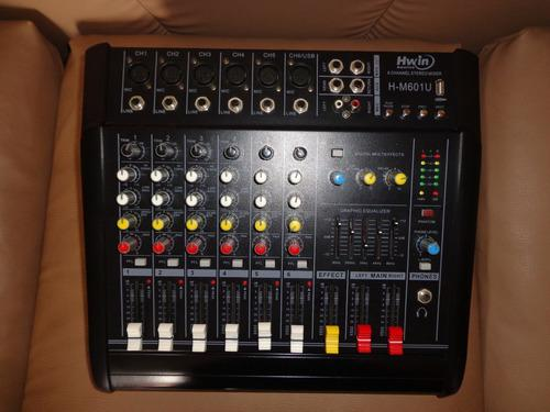 Consola amplificada hwin america h-m601u 6 canales usb