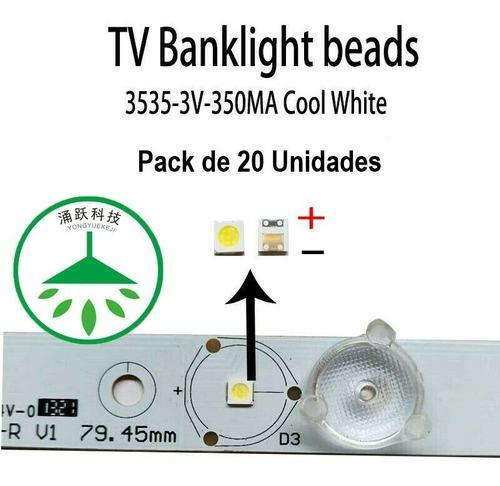 Leds smd 3535 3v 350ma para reparación de tv