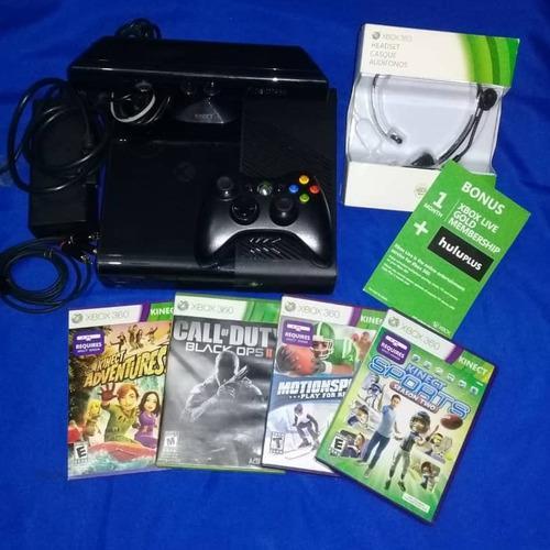 Xbox 360 poco uso 4 juegos, audífonos, kinect