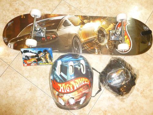 Patineta casco rodillera skate board marca hotwheels *nuevo*