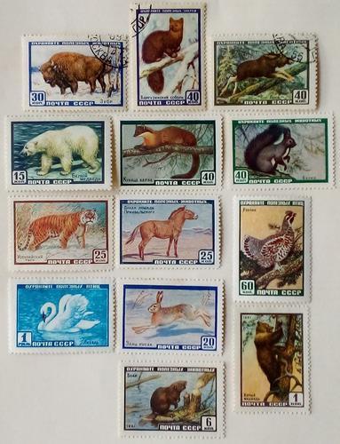 Urss. series: fauna, años: 1957, 1959, 1960, 1961.