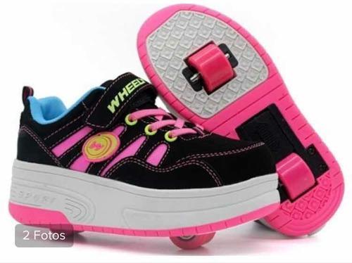 Zapatos patines para niña 2 y 1 rueda talla 6-8 años