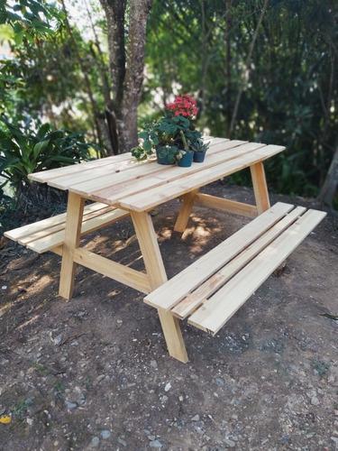Mesa picnic, jardín, parque terraza, camping madera de pino