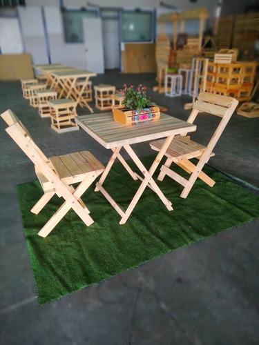 Mesa y sillas plegables madera de pino jardín eventos