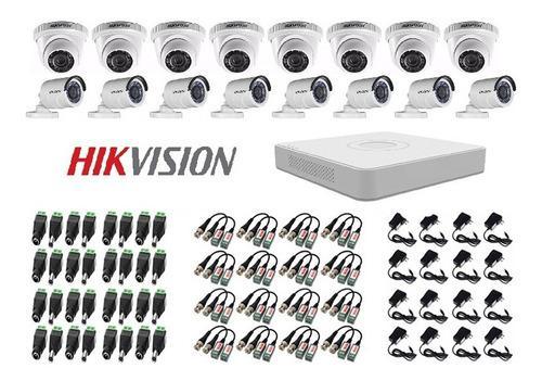 Kit de 16 camaras seguridad+ dvr + accesorios cctv hikvision