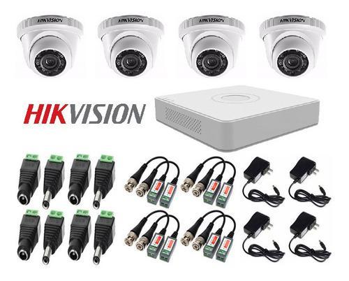 Kit de 4 camaras seguridad + dvr + accesorios cctv hikvision