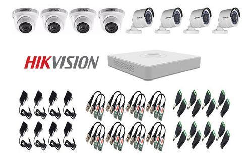 Kit de 8 camaras seguridad + dvr + accesorios cctv hikvision