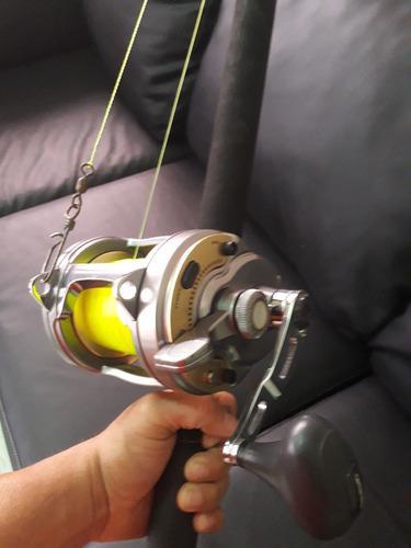 Caña de pescar sea striker 30-80 lb, shimano tyrnos 30 lb