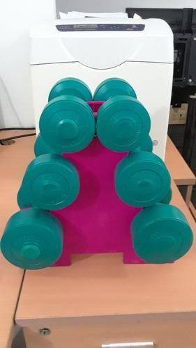 Remato juego de pesas/mancuernas con su soporte como nuevas