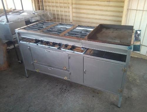 Cocina industrial de 6 hornilla con plancha y horno