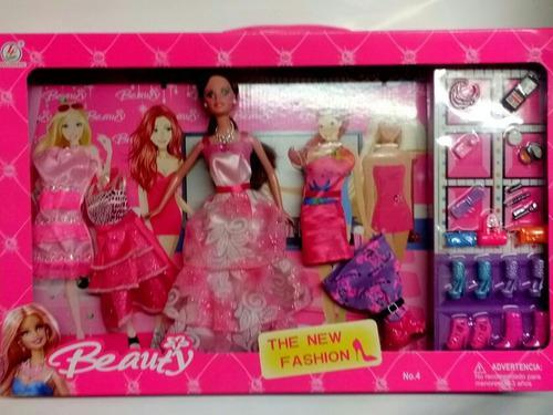 Muñeca beauty, tipo barbie vestidos y accesorios, 30cm