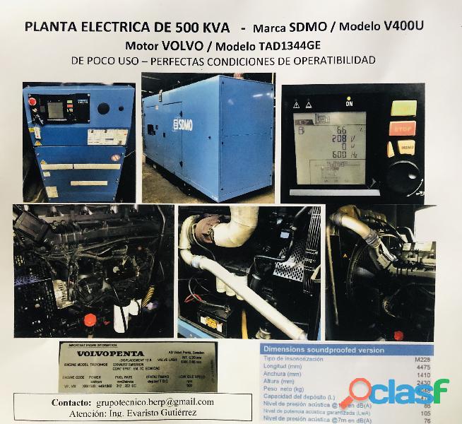 Planta eléctrica de 500 kva motor volvopenta