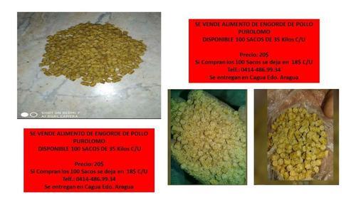 Alimento para pollos de engorde purolomo