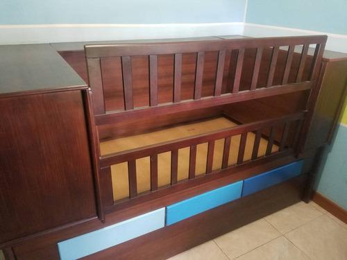 Cuna para bebe modular + gaveteros + cama individual