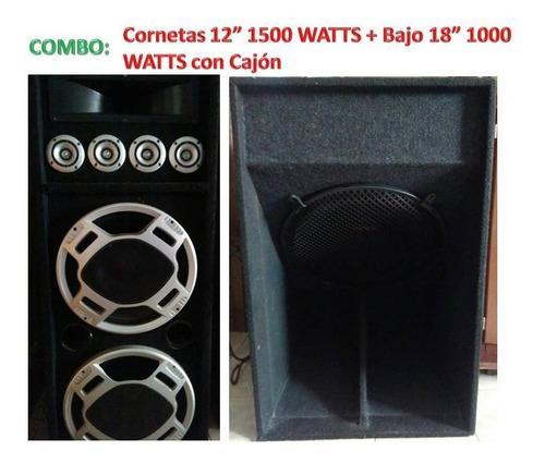 Bajo 18 1000 watts con cajon + cornetas doble bobina 12