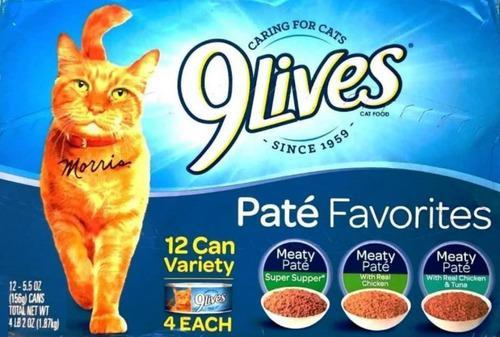 Gato comida humeda pate alimento gatarina 9live caja 12 lata