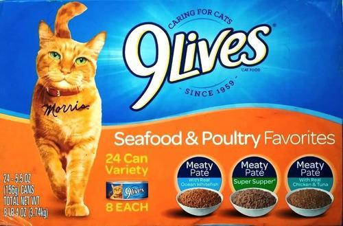 Gato comida humeda pate alimento gatarina 9live caja 24 lata
