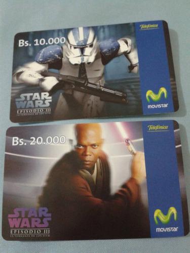 Set de tarjetas telefónicas star wars episodio 3.