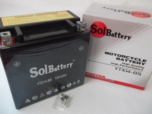 Batería para motos ytx14-bs solbattery v strom benelli bmw