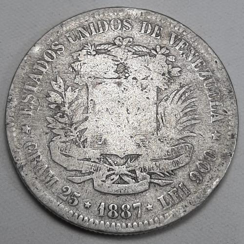 Cinco bolívares 1887, fuerte de plata 1887, g colección
