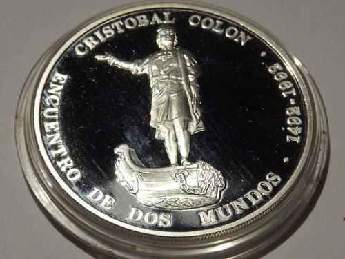 Escasa moneda de plata. cristóbal colón. 500 años