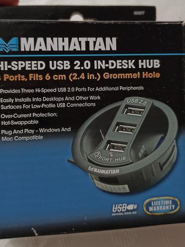 Hub 3 Usb 2.0 Gromet Pasa Cable Para Escritorios Cargador