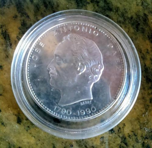Moneda conmemorativa bicentenario jose antonio paez, plata