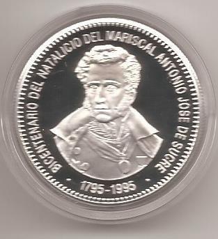 Moneda d plata conmemorativa antonio jose d sucre 1775-1995