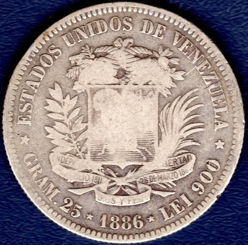 Moneda de 5 bolívares de 1886 fuerte de plata