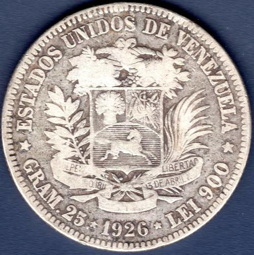 Moneda de 5 bolívares de 1926 fuerte de plata