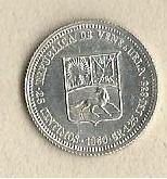 Moneda de plata. 25 centimos (medio). 1960. 1/4 bolívar