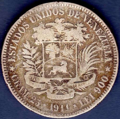 Moneda fuerte de plata 5 bolívares de 1911