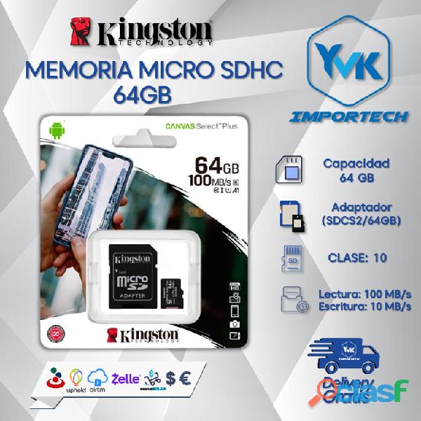 Memoria micro sdhc 64gb marca: kingston