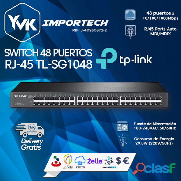 SWITCH 48 PUERTOS RJ 45 TL SG1048