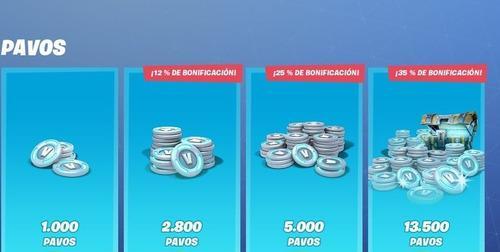 Fortnite pavos 1000, 2800, 5000, 13500
