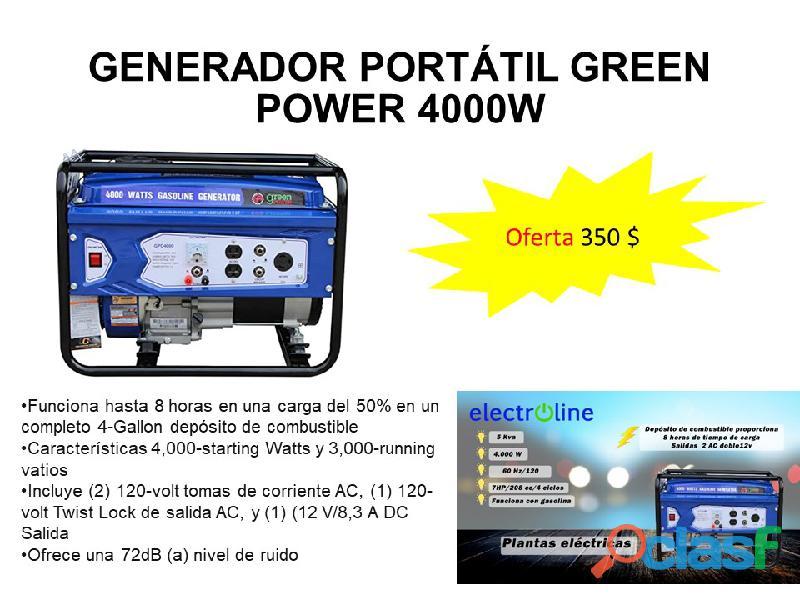 Generador planta eléctrica portátil green power 4000