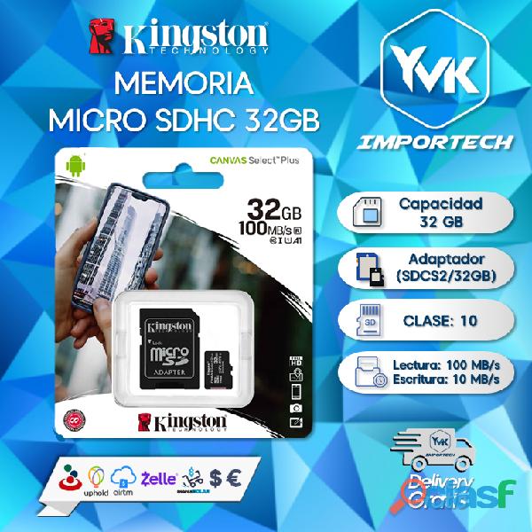 Memoria micro sdhc 32gb marca: kingston.