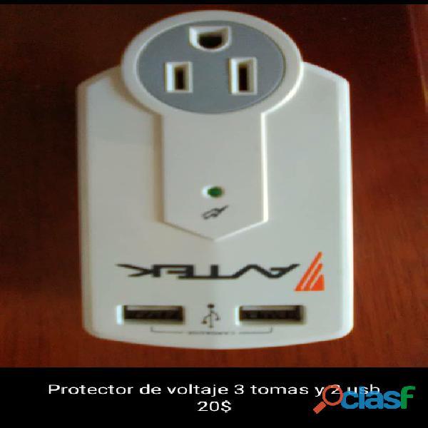 Protector de voltaje avtec 3 tomas y 2 usb
