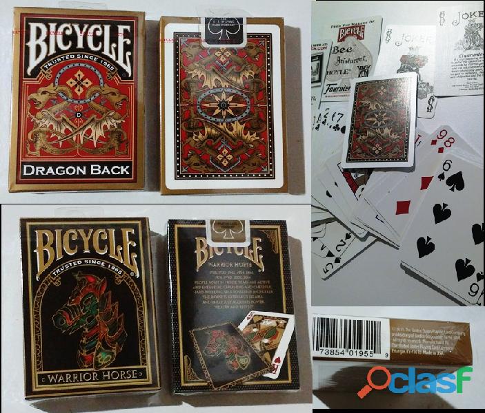 Barajas BICYCLE poker, magia, florituras DRAGON BACK GOLD y WARRIOR HORSE, IMPORTADAS, SELLADAS