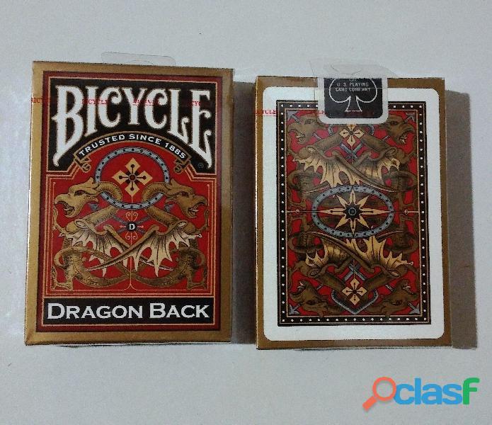 Barajas BICYCLE poker, magia, florituras DRAGON BACK GOLD y WARRIOR HORSE, IMPORTADAS, SELLADAS 1