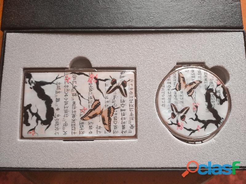 Juego de espejo compacto y porta tarjetas de presentación coreano (Najeon Chilgi) 3